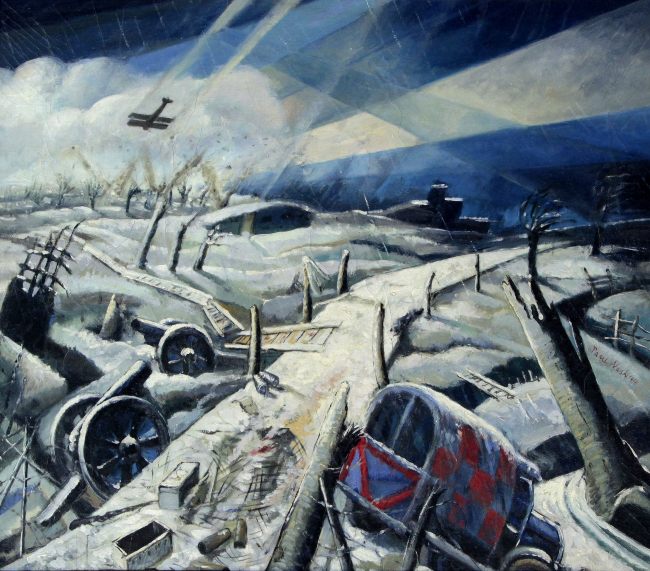 Lot 607 - Paul Nash (British 1889-1946)- 'A Scarred Battlefield' Oil on canvas, signed 'Paul Nash' and dated