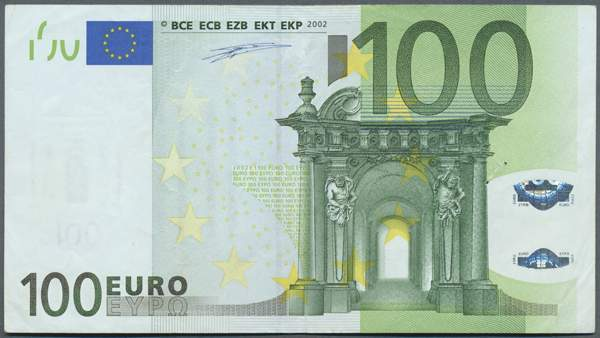 euro error note 100 euro 2002 plate code j002e1 serial letter s italy the note has a miscu. Black Bedroom Furniture Sets. Home Design Ideas