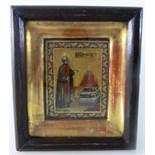 Reiseikone, Russland um 1900, kleine Ikone mit Darstellung eines Heiligen, Öl/Holz, imverglasten