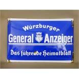 """Altes Reklameschild um 1940, Emailleschild """"Würzburger Generalanzeiger - Das führendeHeimatblatt"""","""