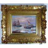 Dekorativer Bilderrahmen im Barockstil, 20.Jh., Holz vergoldet, 71cm x 61cm- - -18.00 % buyer's