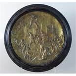 Medaillon um 1800, Messingblech, verschiedene Götter wie Hermes, Bacchus u.a. vorStadtansicht mit