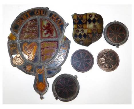 A quantity of antique stained mostly leaded glass, largest piece appears to be a remnant of British Royal Coat of Arms 11.625