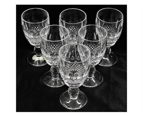 A vintage set of six Waterford Crystal sherry glasses 4.25in tall, no faults