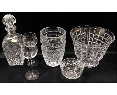 A Waterford crystal vase (very small slither chip inside rim) 7.875in tall, an Edinburgh crystal bowl 7in tall x 9in wide &am