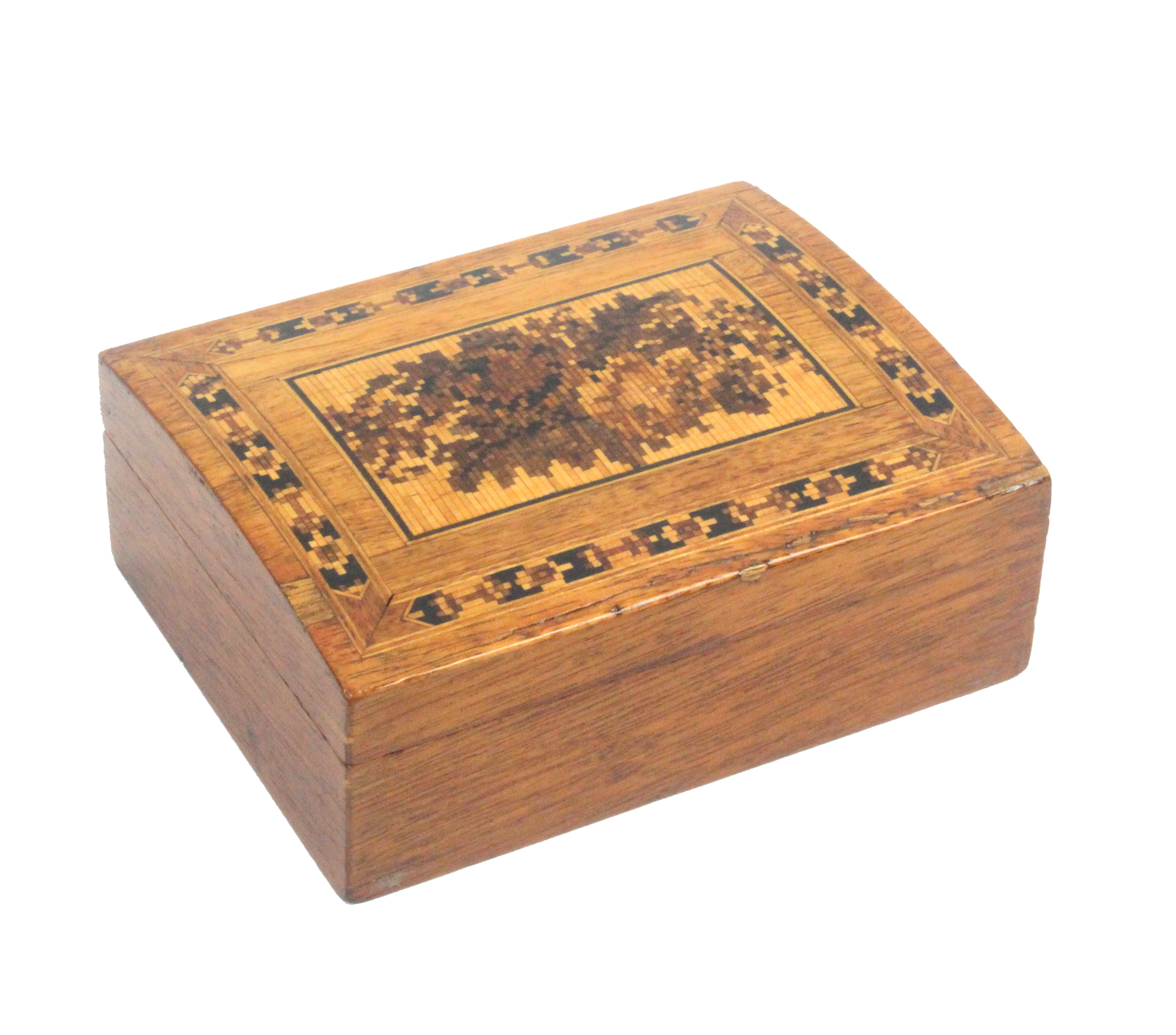 Lot 9 - An early 20th Tunbridge ware box by, The Tunbridge Wells Manufacturing Co, Ltd, of rectangular form,