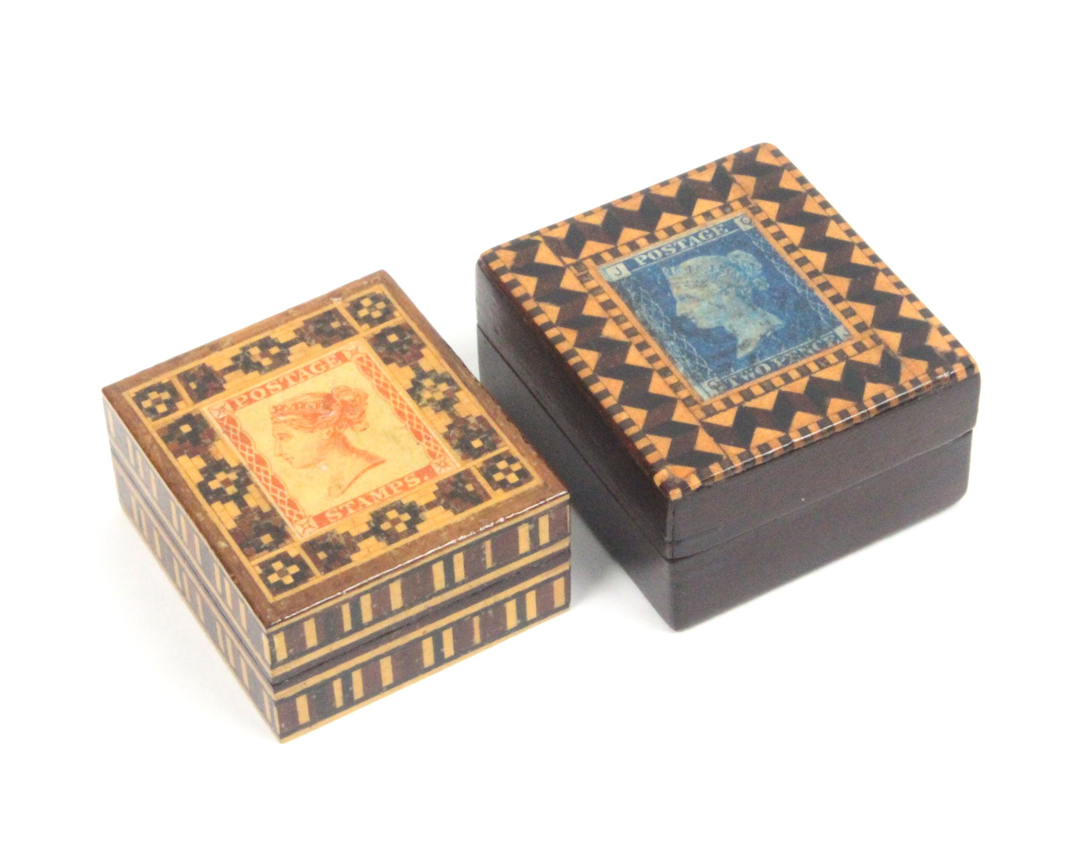 Lot 18 - Two Tunbridge ware stamp boxes comprising a rosewood example the lid with two pence blue stamp