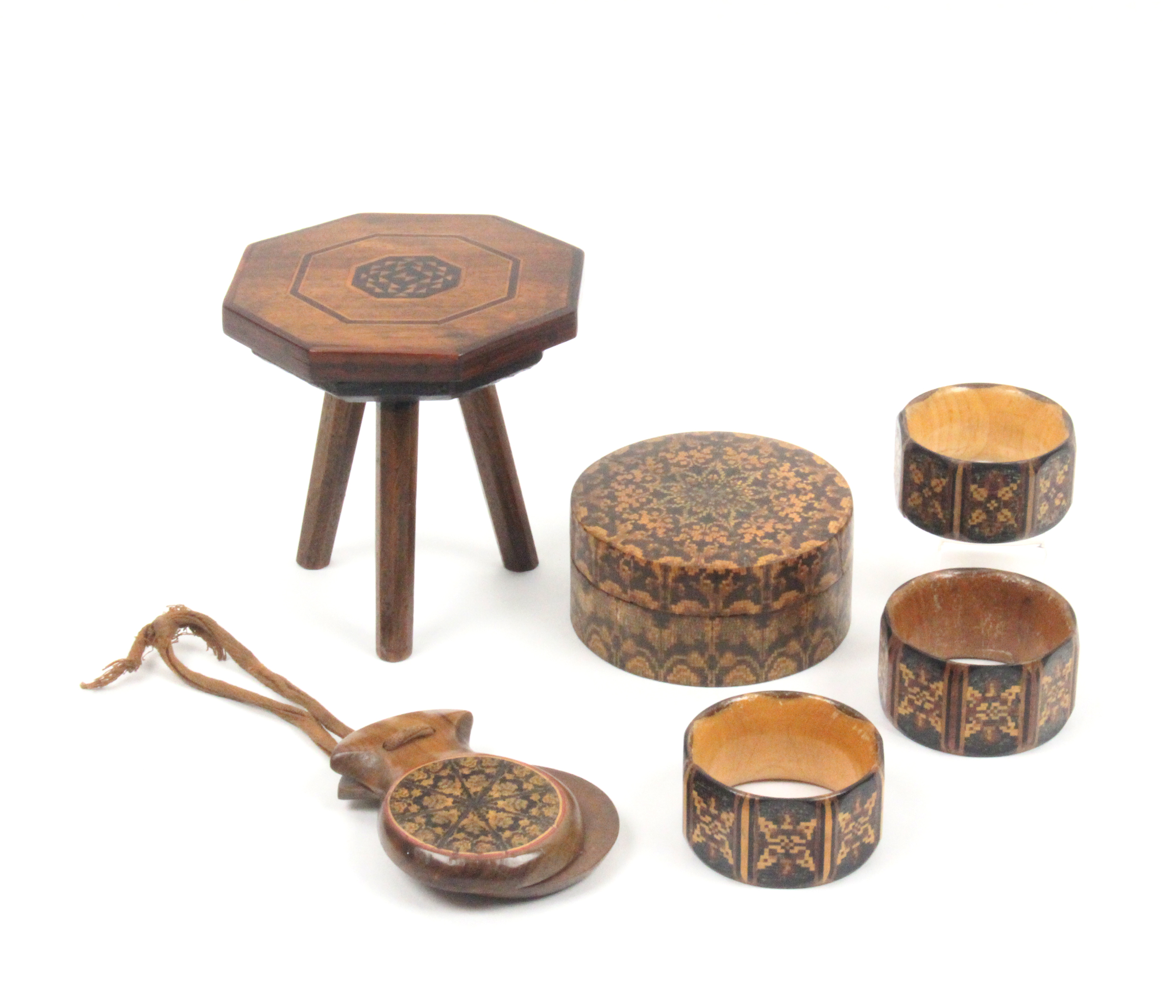 Lot 22 - Tunbridge ware and associated wares - six pieces comprising three Tunbridge ware napkin rings of