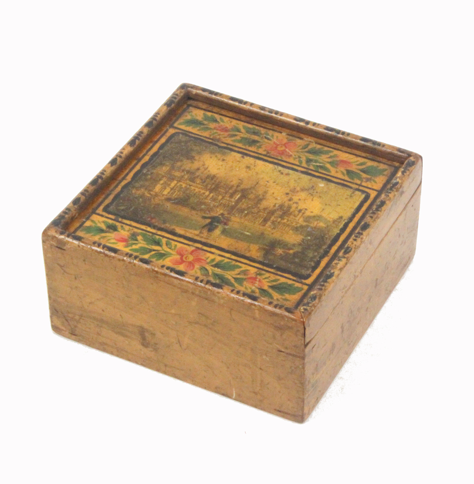 Lot 57 - An early painted and print decorated Tunbridge ware whitewood box, the sliding lid with a colour