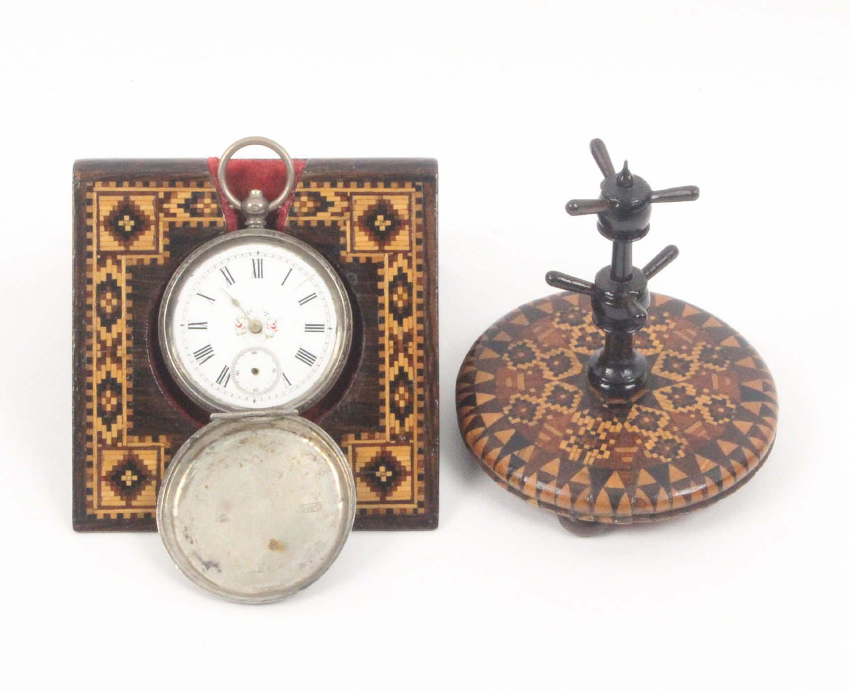 Lot 38 - A Tunbridge ware watch stand and a ring stand, the first of angled form with a border of geometric
