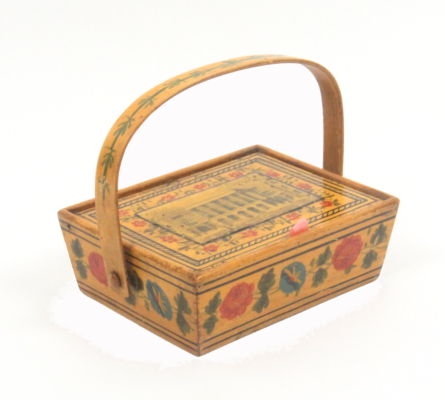Lot 60 - A rare print and paint decorated early Tunbridge ware whitewood child's sewing pannier, probably
