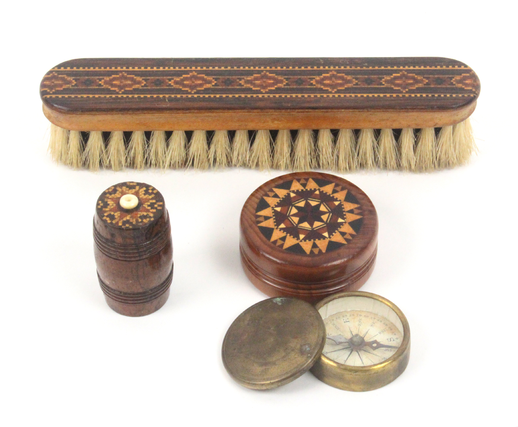 Lot 52 - Tunbridge ware - three pieces, comprising an attractive turned yew wood circular box the lid with