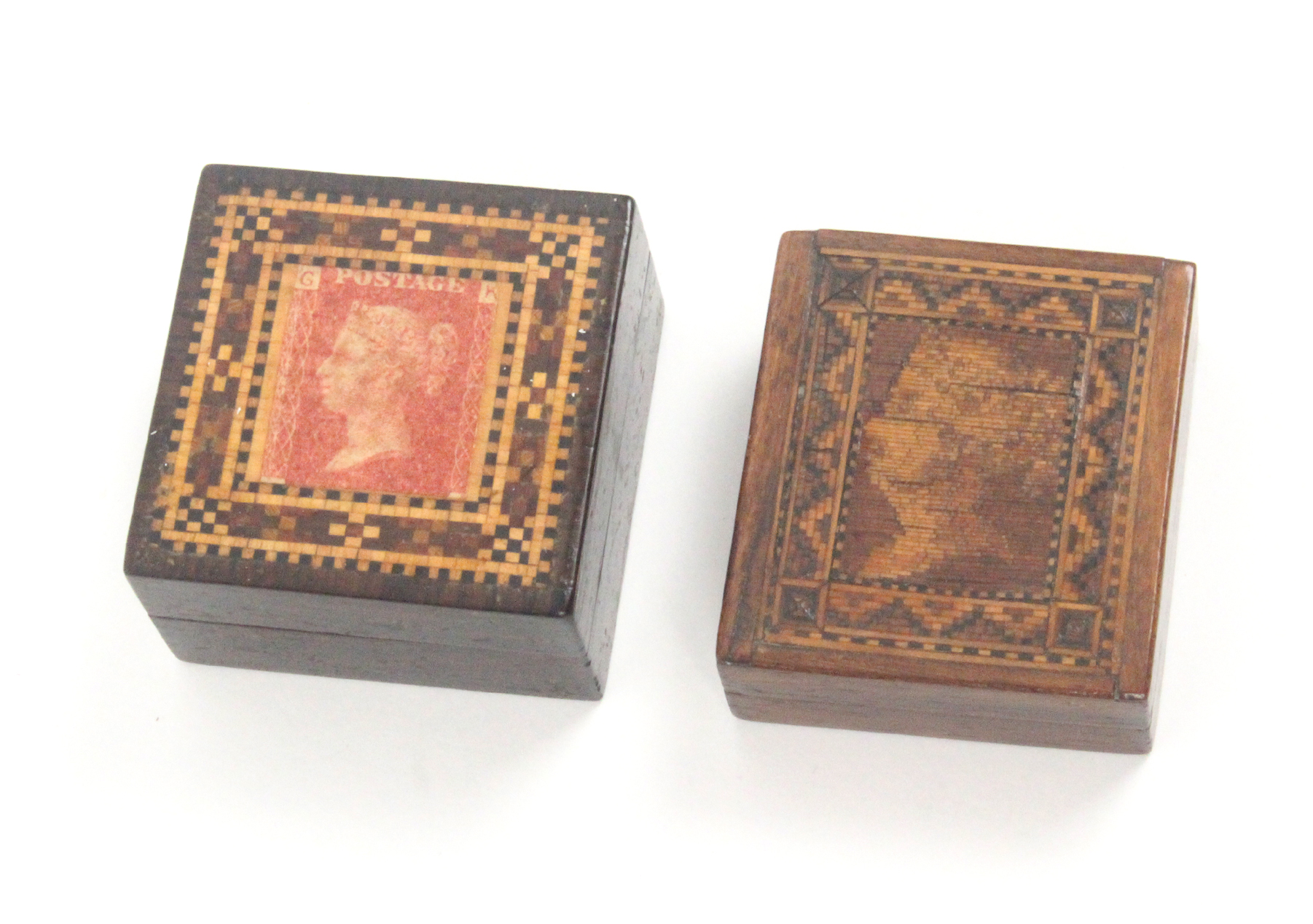 Lot 54 - Tunbridge ware - two stamp boxes, comprising a rectangular example the lid with young head QV in