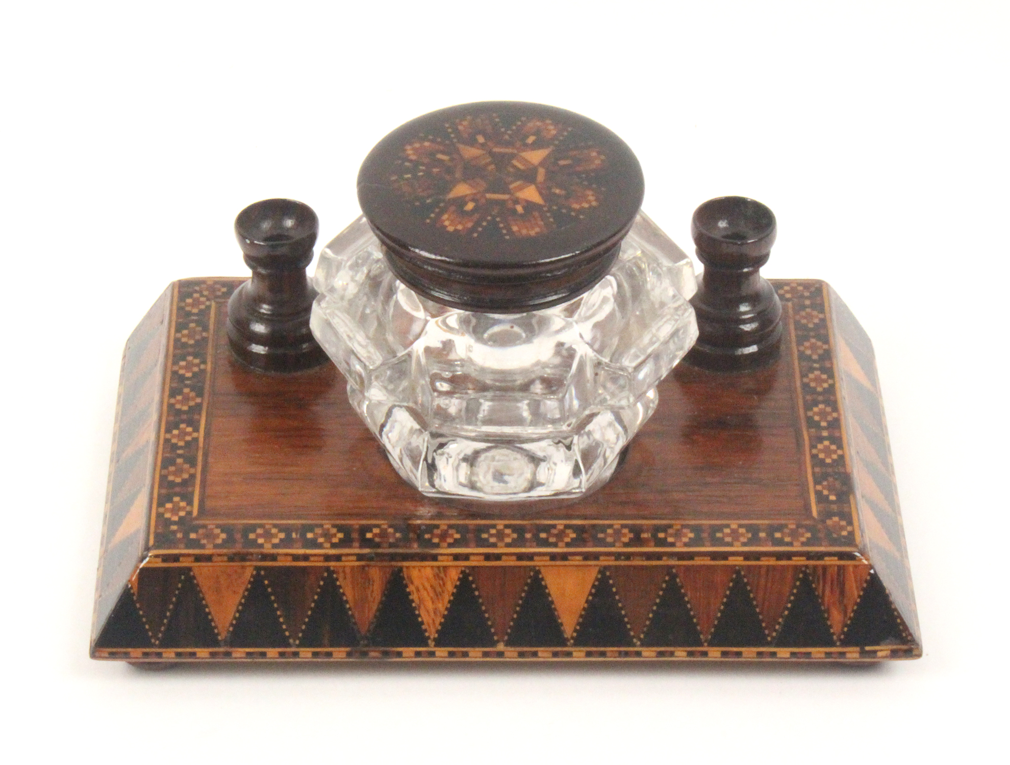 Lot 39 - A Tunbridge ware rosewood ink stand, the rectangular base on four bun feet with a canted border in