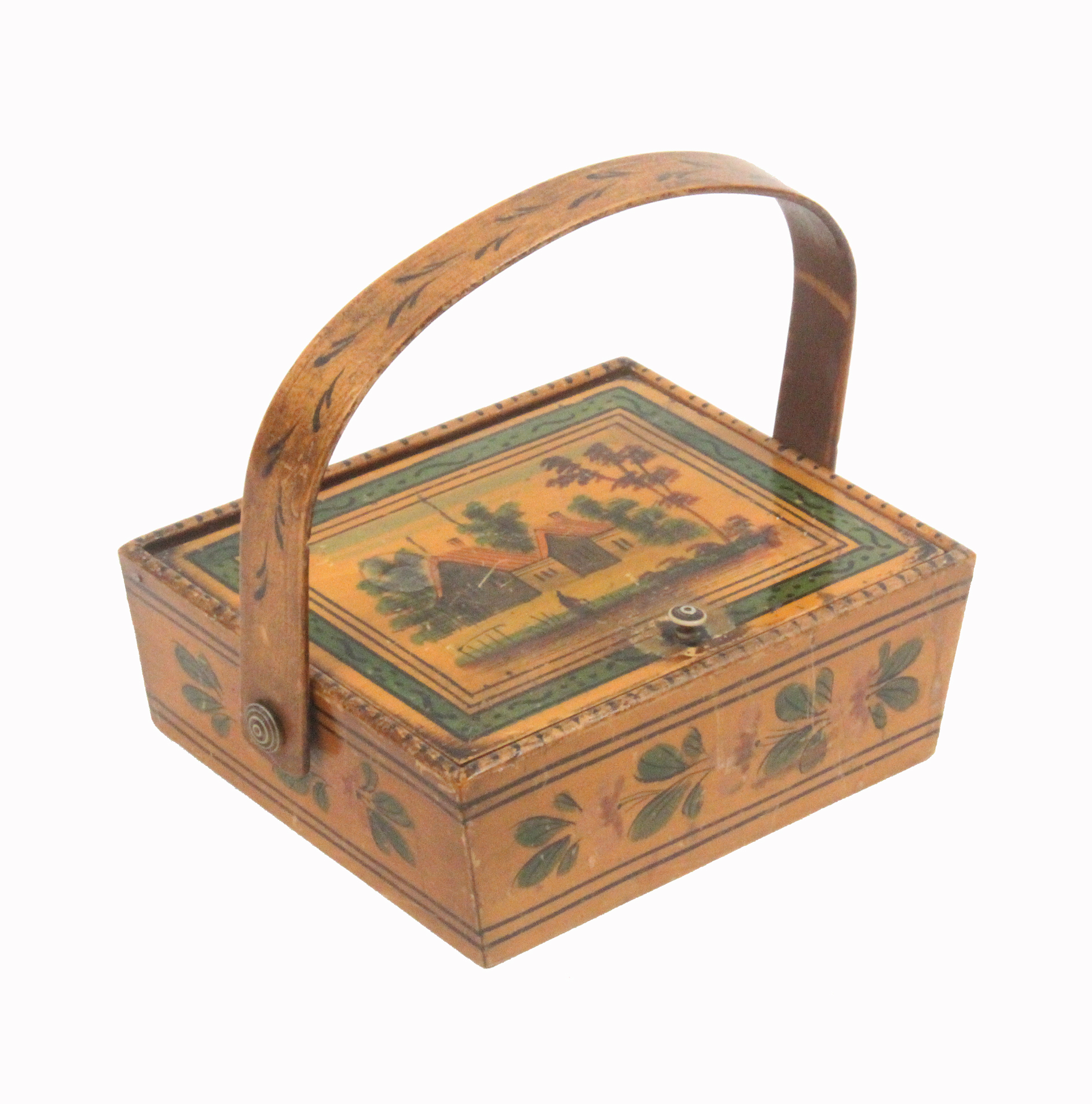 Lot 59 - An early 19th Century whitewood sewing pannier in the Tunbridge style, the angled sides painted with