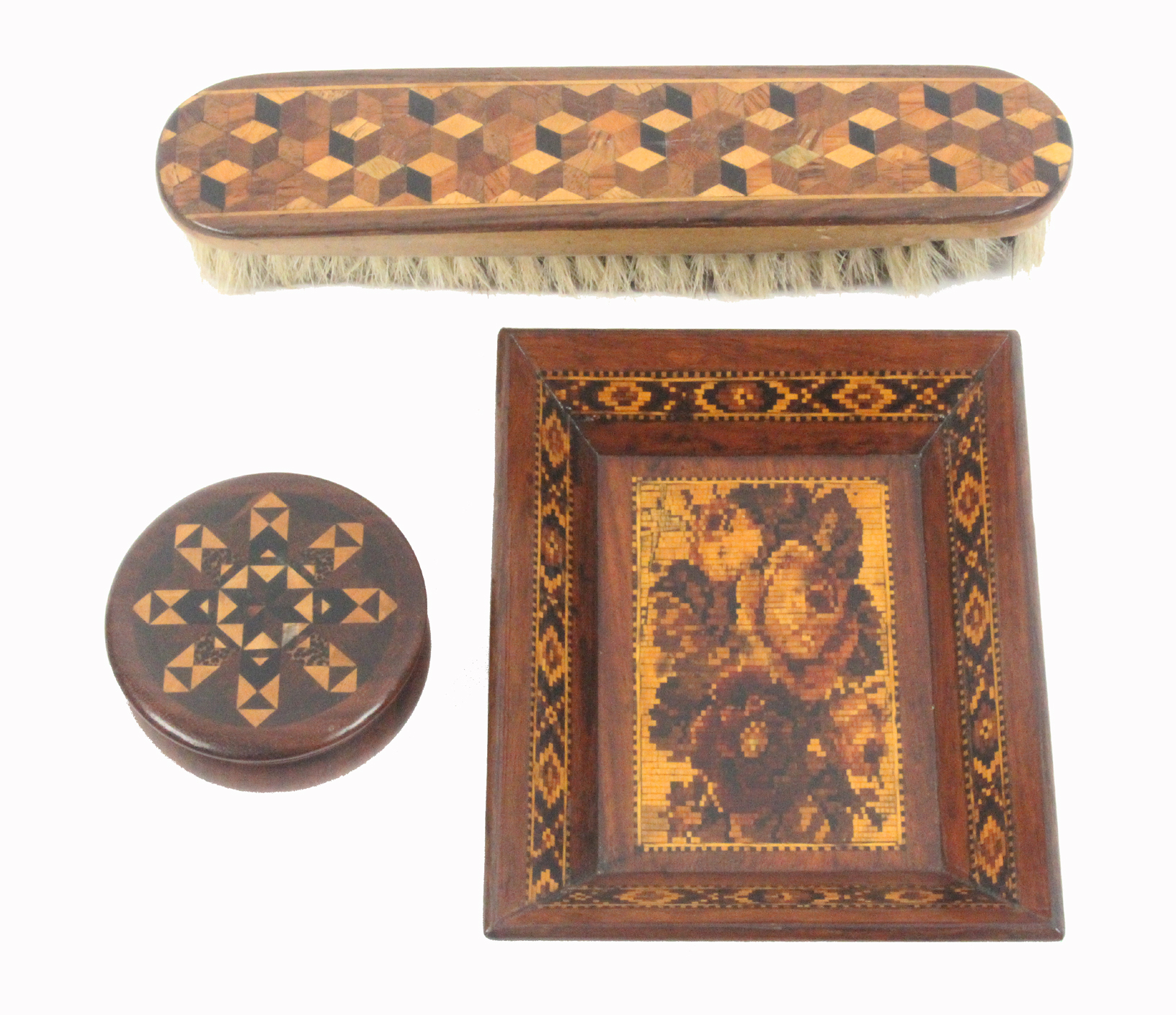 Lot 53 - Tunbridge ware - three pieces, comprising a rectangular card tray with floral mosaic centre within a