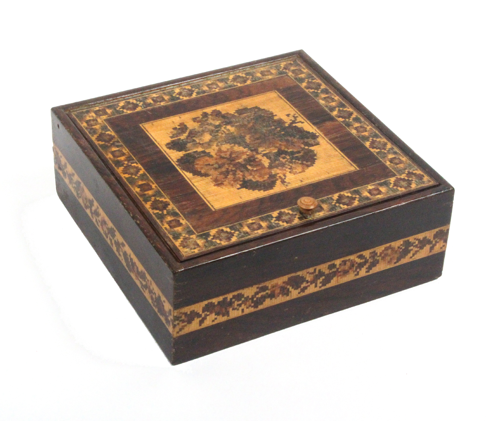 Lot 5 - A rosewood Turnbridge ware box of square form, the pin hinge lid with a panel of floral mosaic