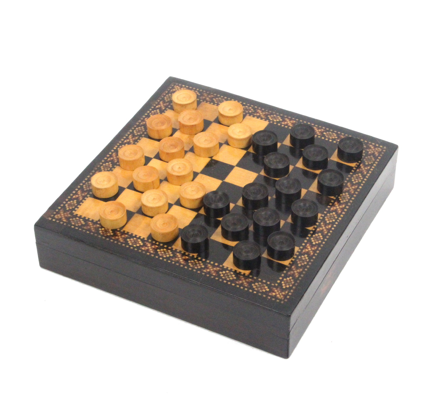 Lot 6 - A scarce Tunbridge ware miniature chequers box and pieces, the lid with board within a geometric