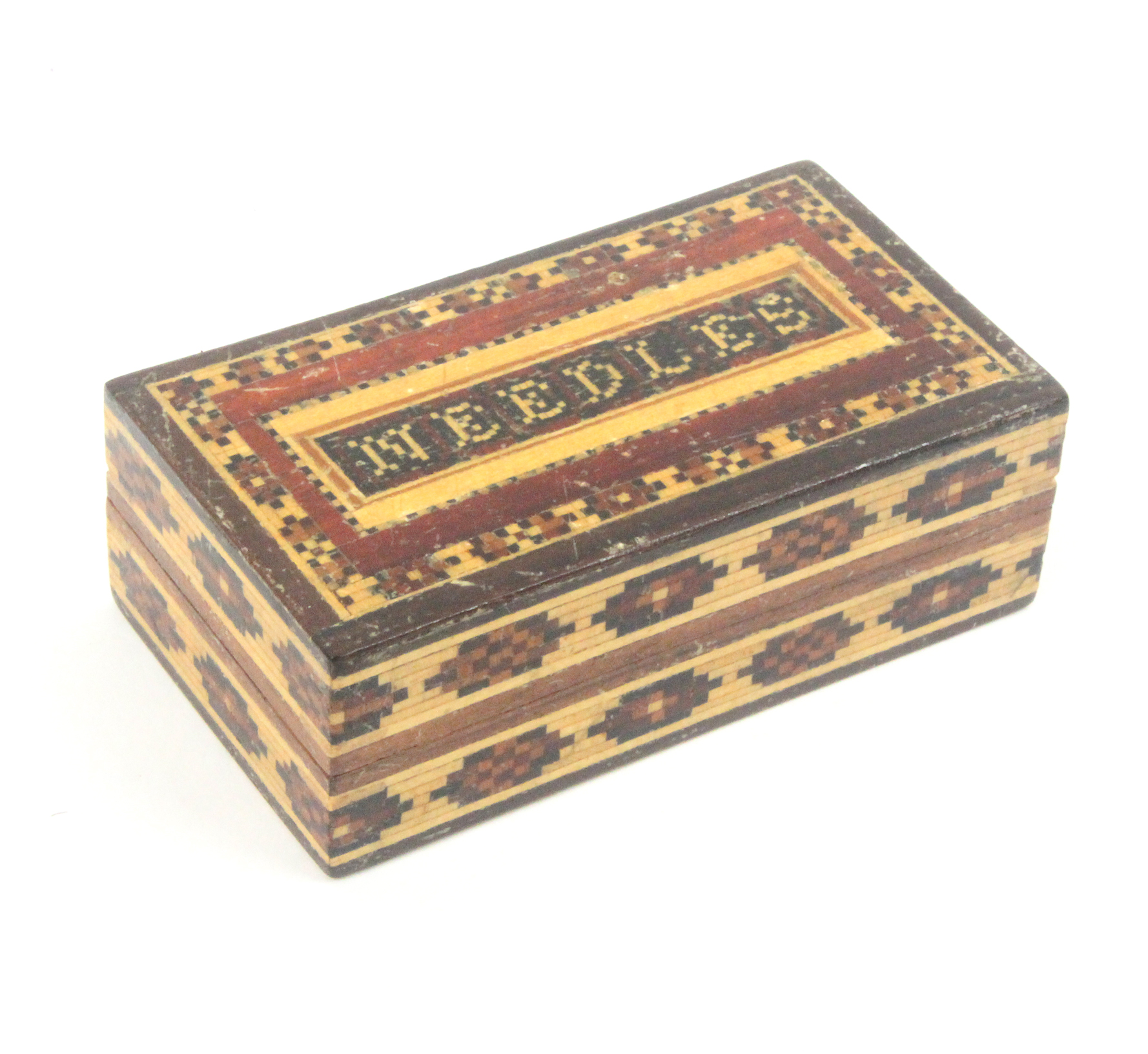 Lot 44 - Tunbridge ware - sewing, a rectangular needle box the sides with two bands of mosaic, the lid in