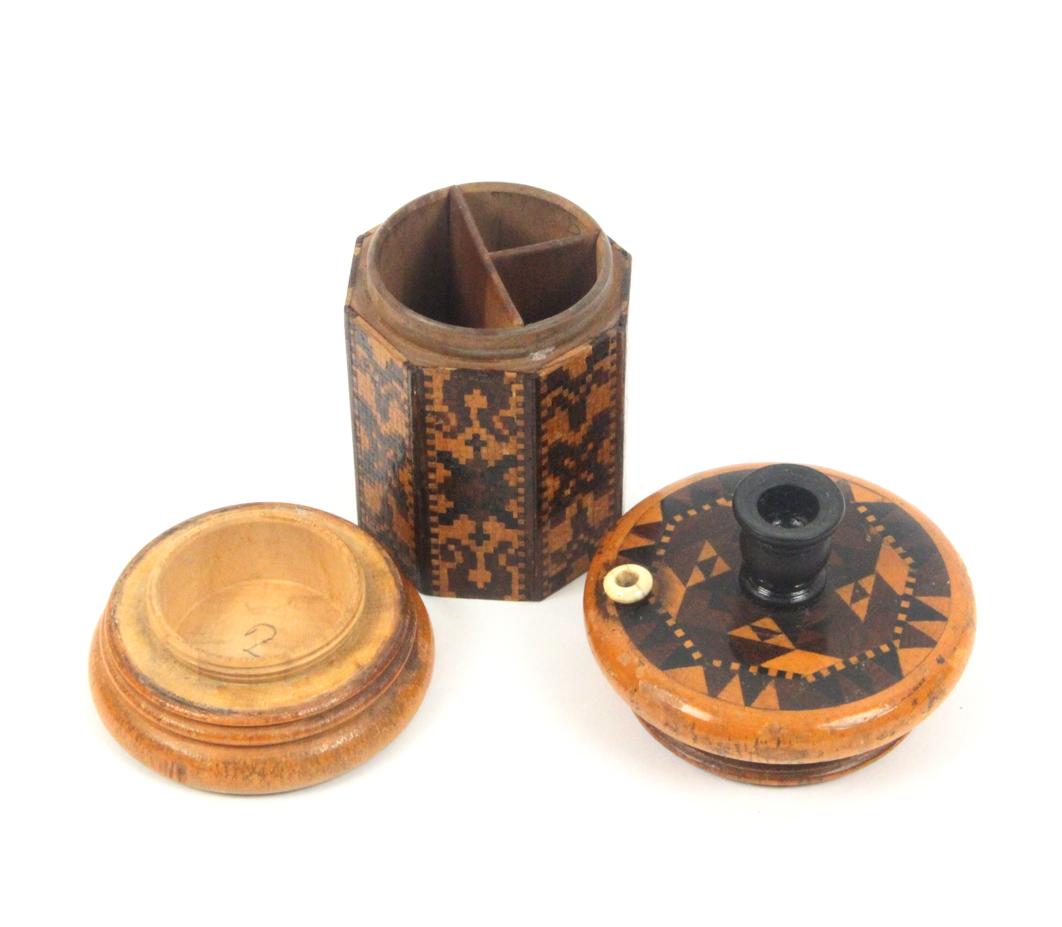 Lot 56 - Tunbridge ware - a large go-to-bed, the octagonal section body in bands of mosaic, the lid in