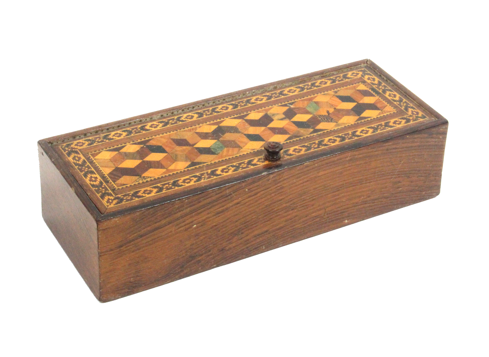 Lot 7 - A rosewood Turnbridge ware box of rectangular form, the pin hinge lid with cube work panel within