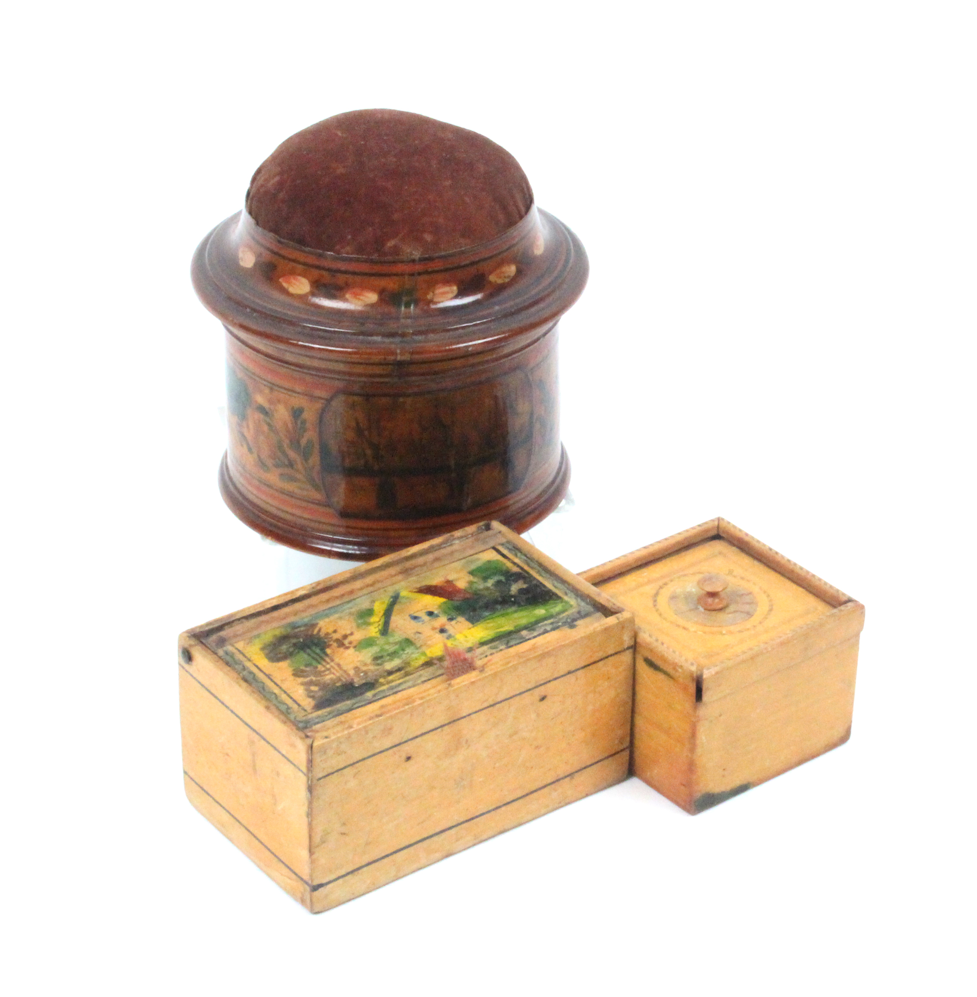 Lot 24 - An early 19th painted Tunbridge ware circular box with domed pin cushion to lid, ring painted and