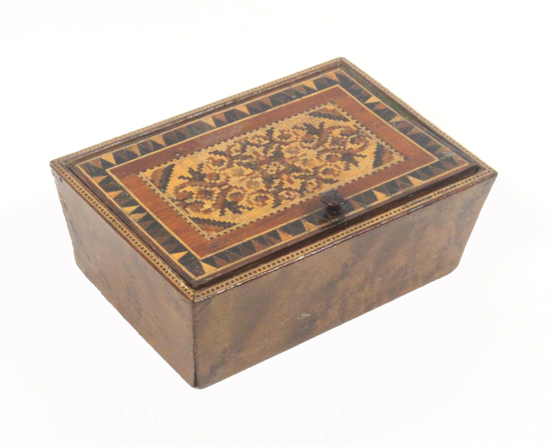 Lot 58 - A Tunbridge ware box of rectangular form, with angled burr veneered sides, the pin hinge lid with