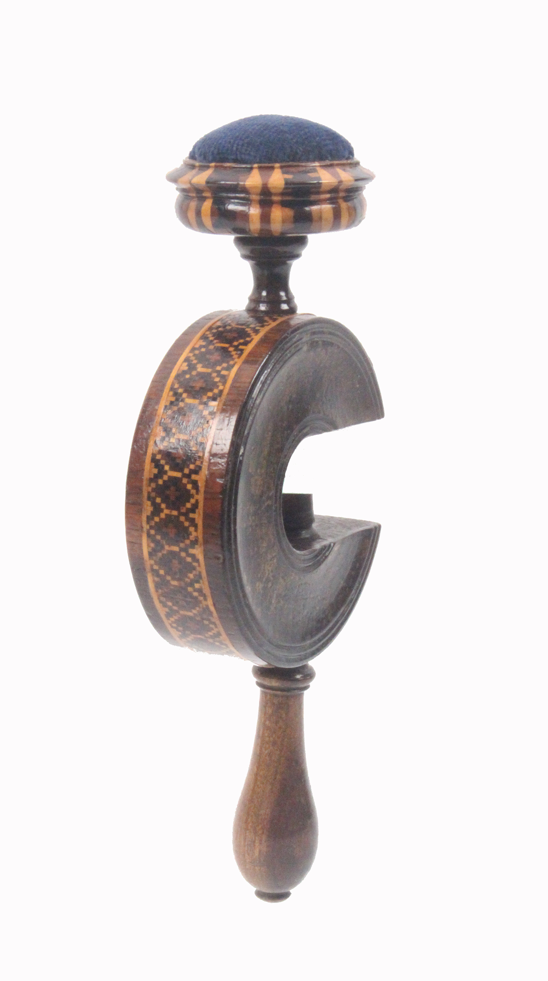Lot 49 - Tunbridge ware - a rosewood sewing clamp, the 'C' form frame with a band of geometric mosaic below a