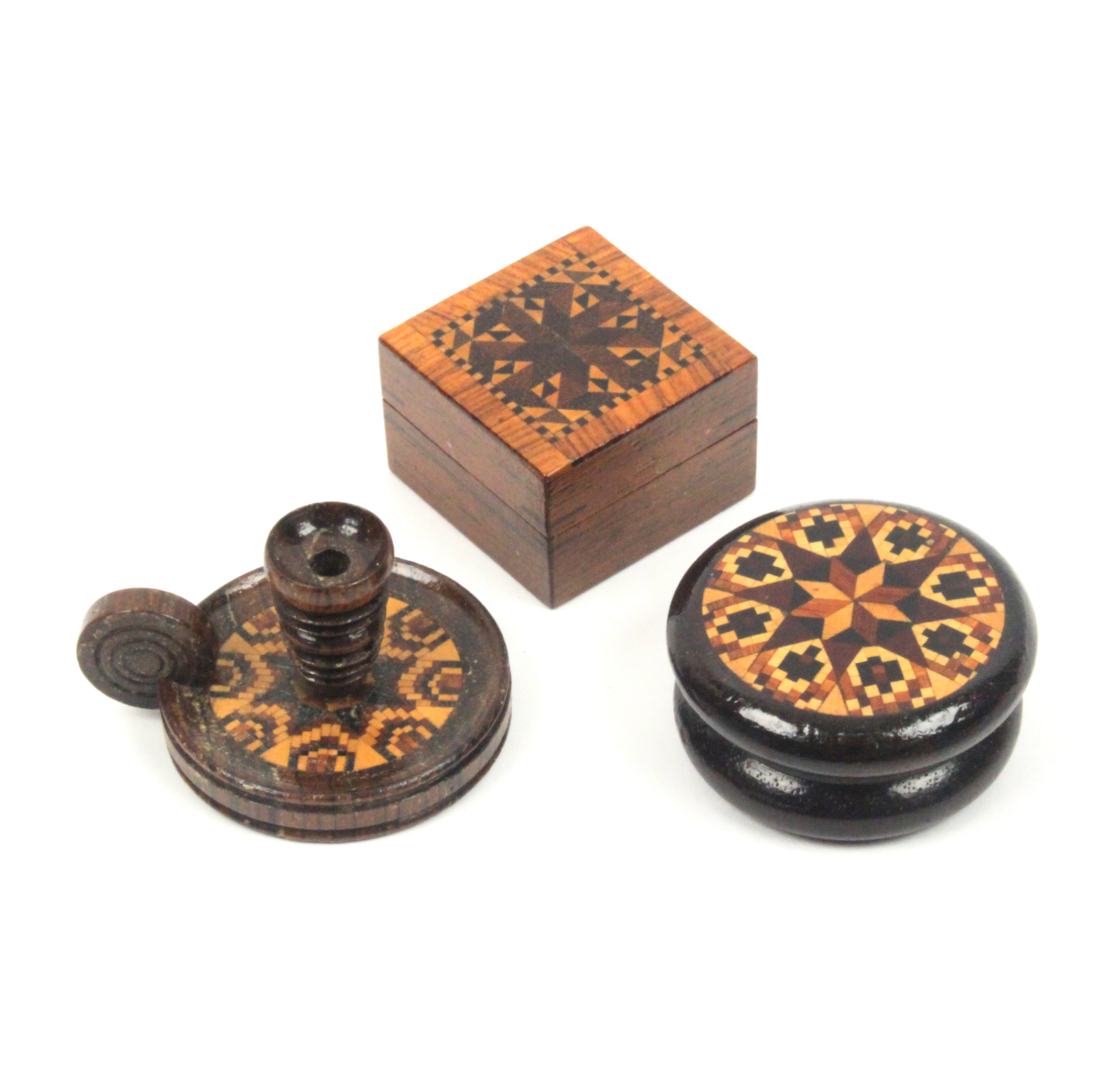 Lot 21 - Tunbridge ware - three pieces comprising a turned rosewood circular box with stickware and mosaic