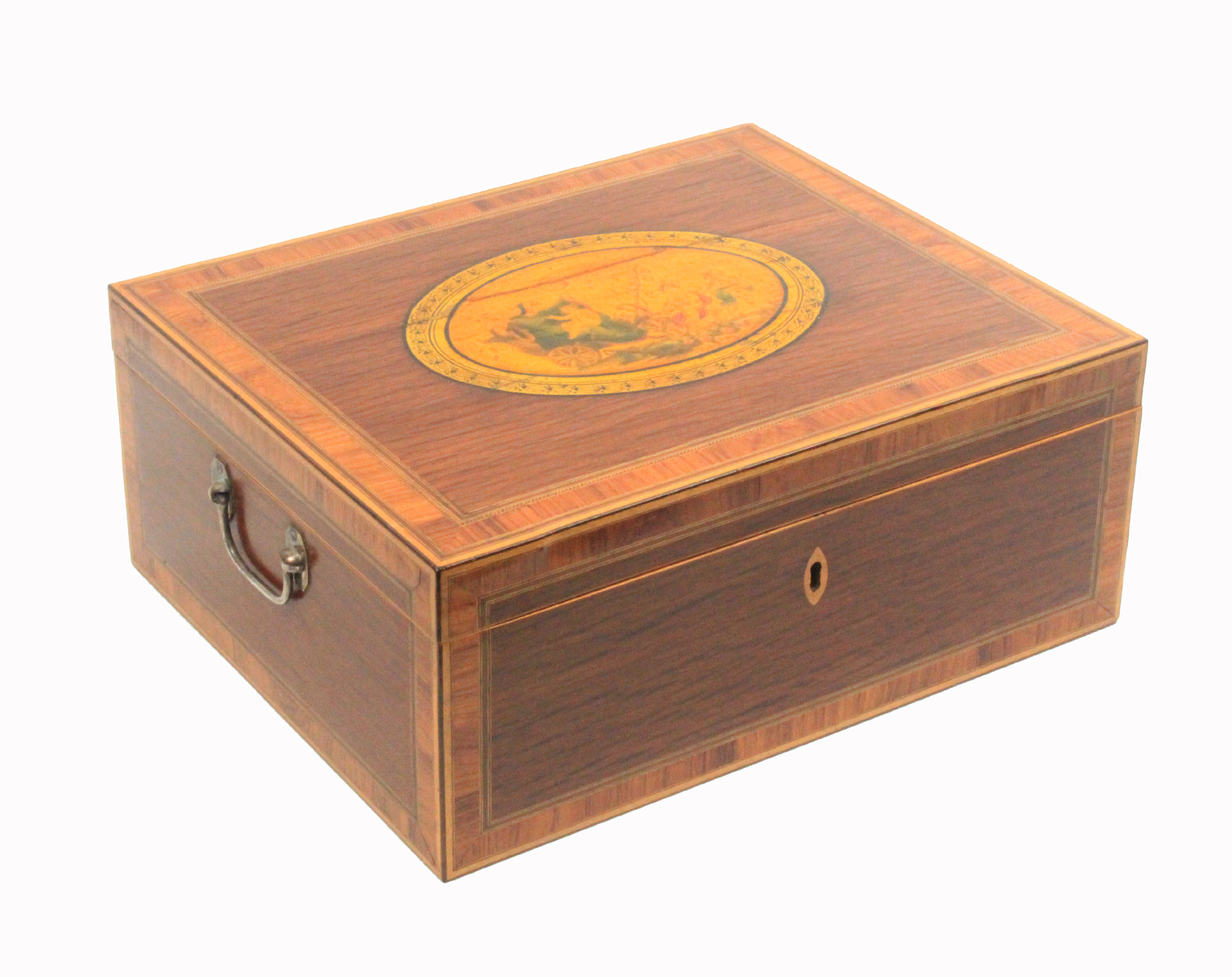 Lot 31 - An early 19th century Tunbridge print decorated documentary sewing box of rectangular form