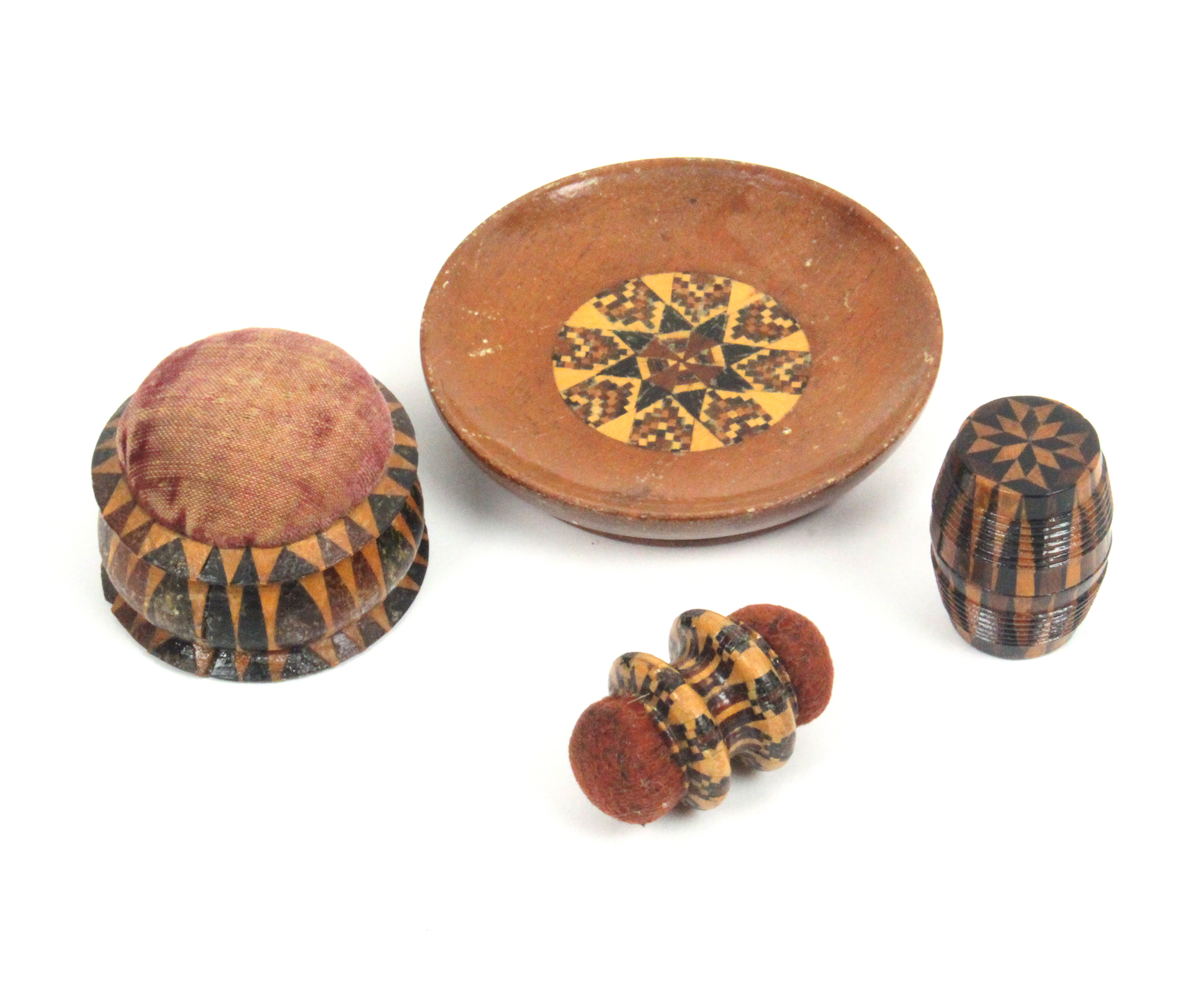 Lot 14 - Tunbridge ware - sewing - four pieces comprising a rosewood pin dish with geometric mosaic panel,