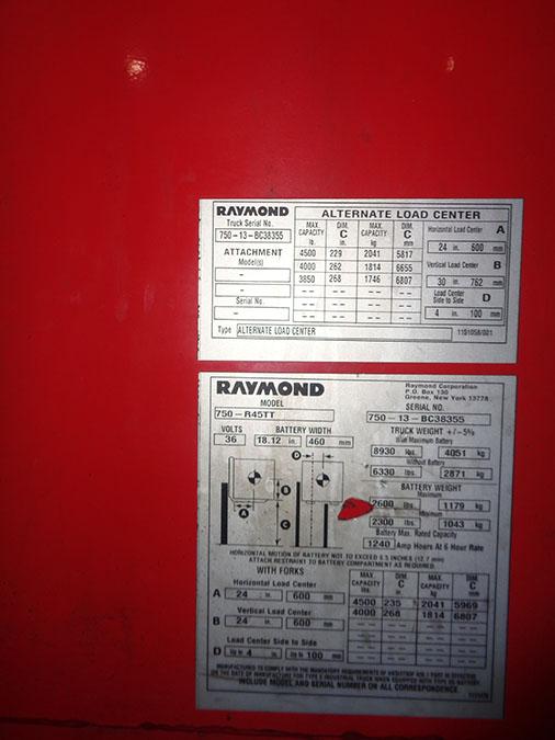 Lot 55 - 2013 RAYMOND 4,500 LB. REACH TRUCK; 36-VOLT, MODEL 750-R45TT, S/N 750-13-BC38355, RUNS & OPERATES