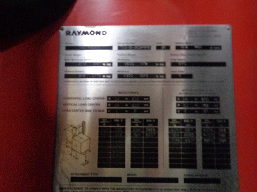 Lot 58 - 2012 RAYMOND 4,500 LB. REACH TRUCK; 36-VOLT, MODEL 750-R45TT, S/N 750-12-BC34919, RUNS & OPERATES