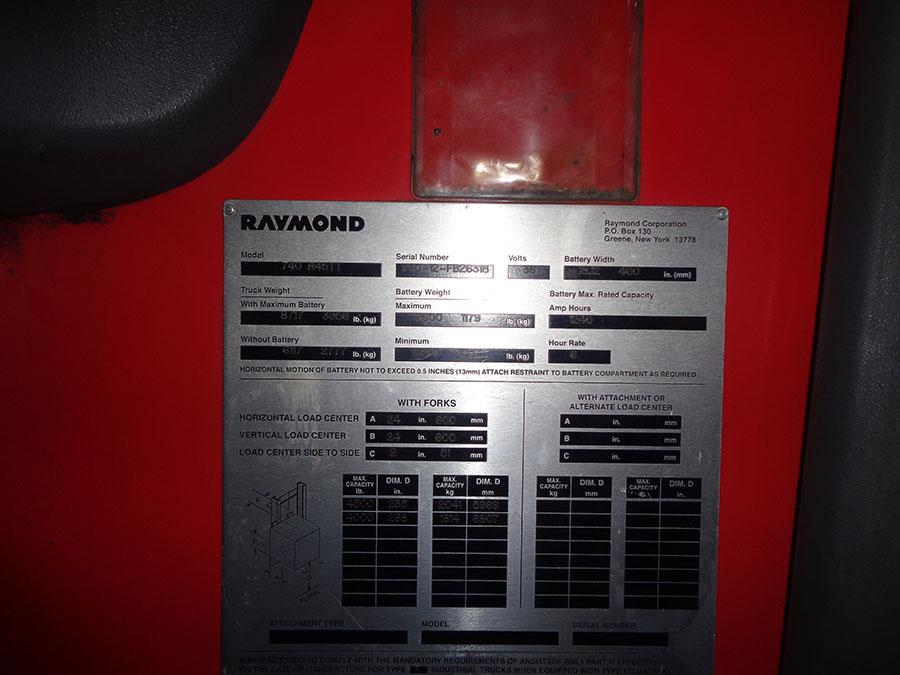 Lot 56 - 2012 RAYMOND 4,500 LB. REACH TRUCK; 36-VOLT, MODEL 740-R45TT, S/N 740-12-FB26318, RUNS & OPERATES