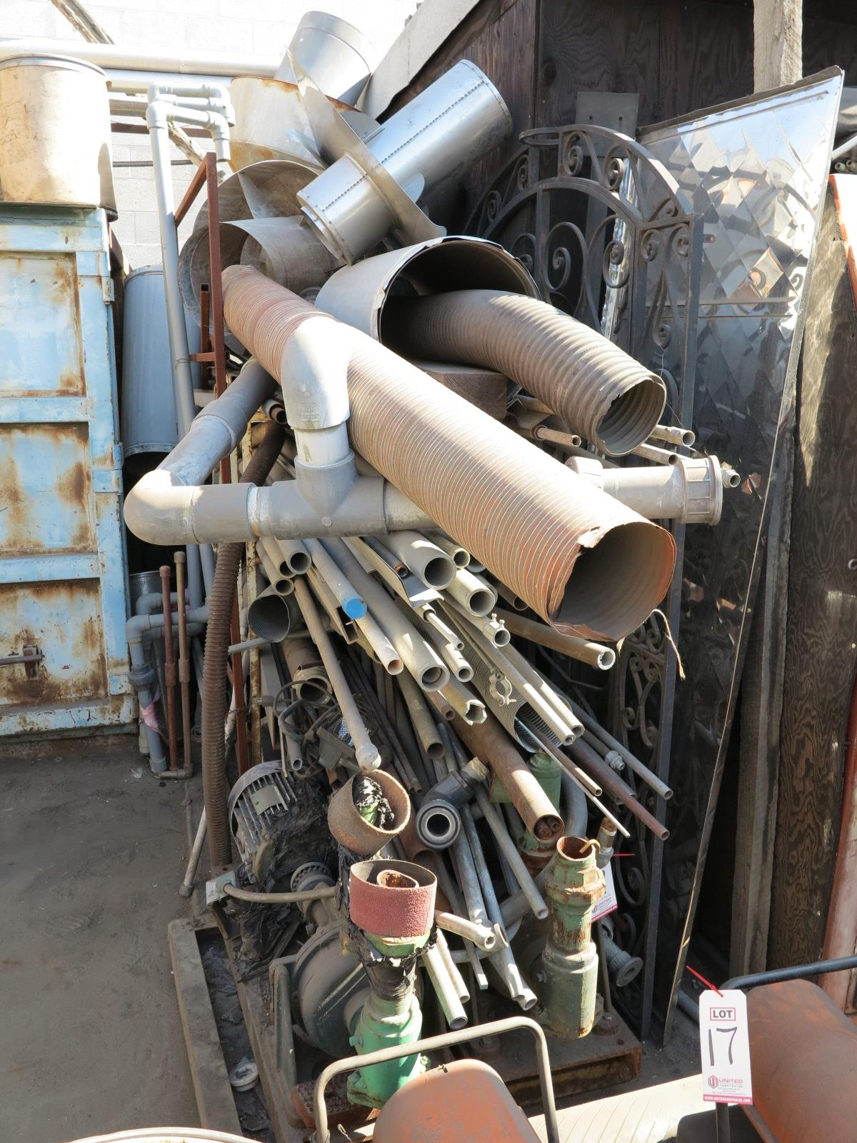 LOT - RACK W/ CONTENTS: PIPE, EMT, STEEL, (2) ELECTRIC PUMPS - Image 3 of 3