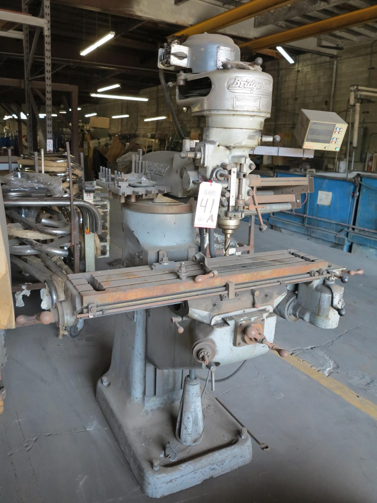 "Lot 41A - BRIDGEPORT VERTICAL MILL, 9"" X 42"" TABLE"