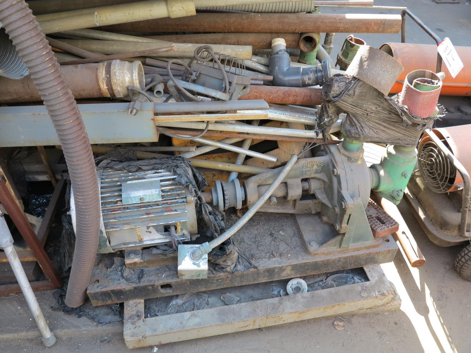 LOT - RACK W/ CONTENTS: PIPE, EMT, STEEL, (2) ELECTRIC PUMPS - Image 2 of 3