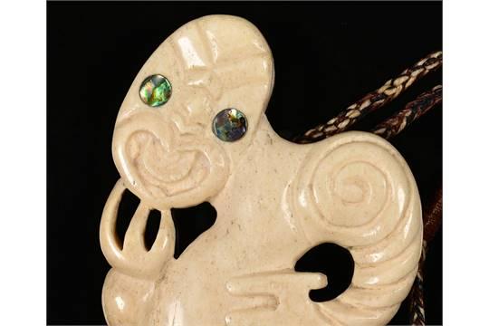 New Zealand Maori Hei Tiki Amulet Carved From Whalebone With Abalone Shell Eyes By Bill Rawhiti