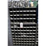 HARDWARE CABINET W/ HOSE CLAMPS, STEEL ALLOY SCREWS, GALVANIZED STEEL ELBOWS, ETC.
