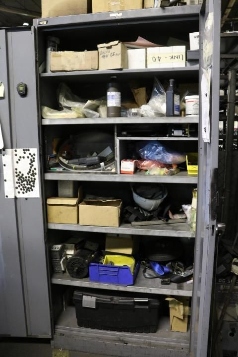 Lot 38 - CABINET W/ CONTENTS TO INCLUDE: NEW SHUT OFF VALVES, ELECTRICAL MOTOR, ETC.