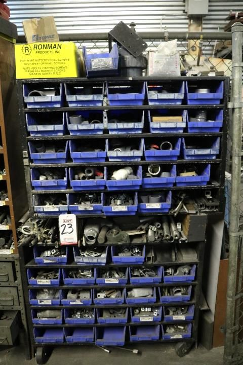 Lot 23 - HARDWARE CADDY W/ APPROX (50) REMOVABLE BINS OF MISC HARDWARE