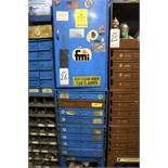 HARDWARE CABINET W/ (8) REMOVABLE DRAWERS CONTAINING SPOT WELDING SUPPLIES, RETAINING RINGS, SET
