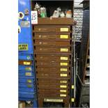 HARDWARE CABINET W/ (12) REMOVABLE DRAWERS CONTAINING RETAINING RINGS, COTTER PINS, LOCK NUTS, CAP