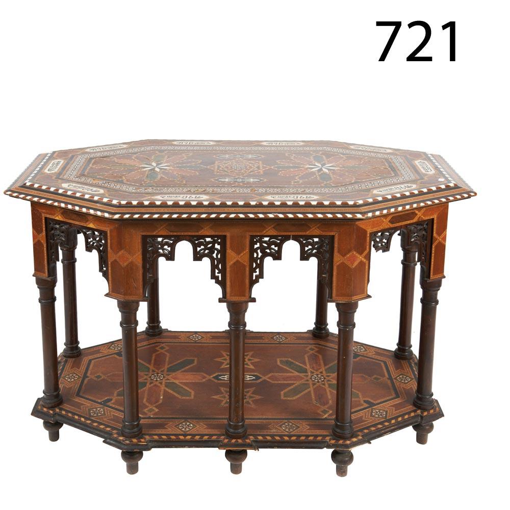 Octogonal Wood Table With Bone Ornamentation Mesa Octogonal Con  # Muebles Directo Cee