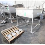 """FPEC 60"""" W x 60"""" L x 36"""" D S/S Feed Hopper, Model VFH86, SN 6244, with 6"""" Discharge, Mounted on S/"""