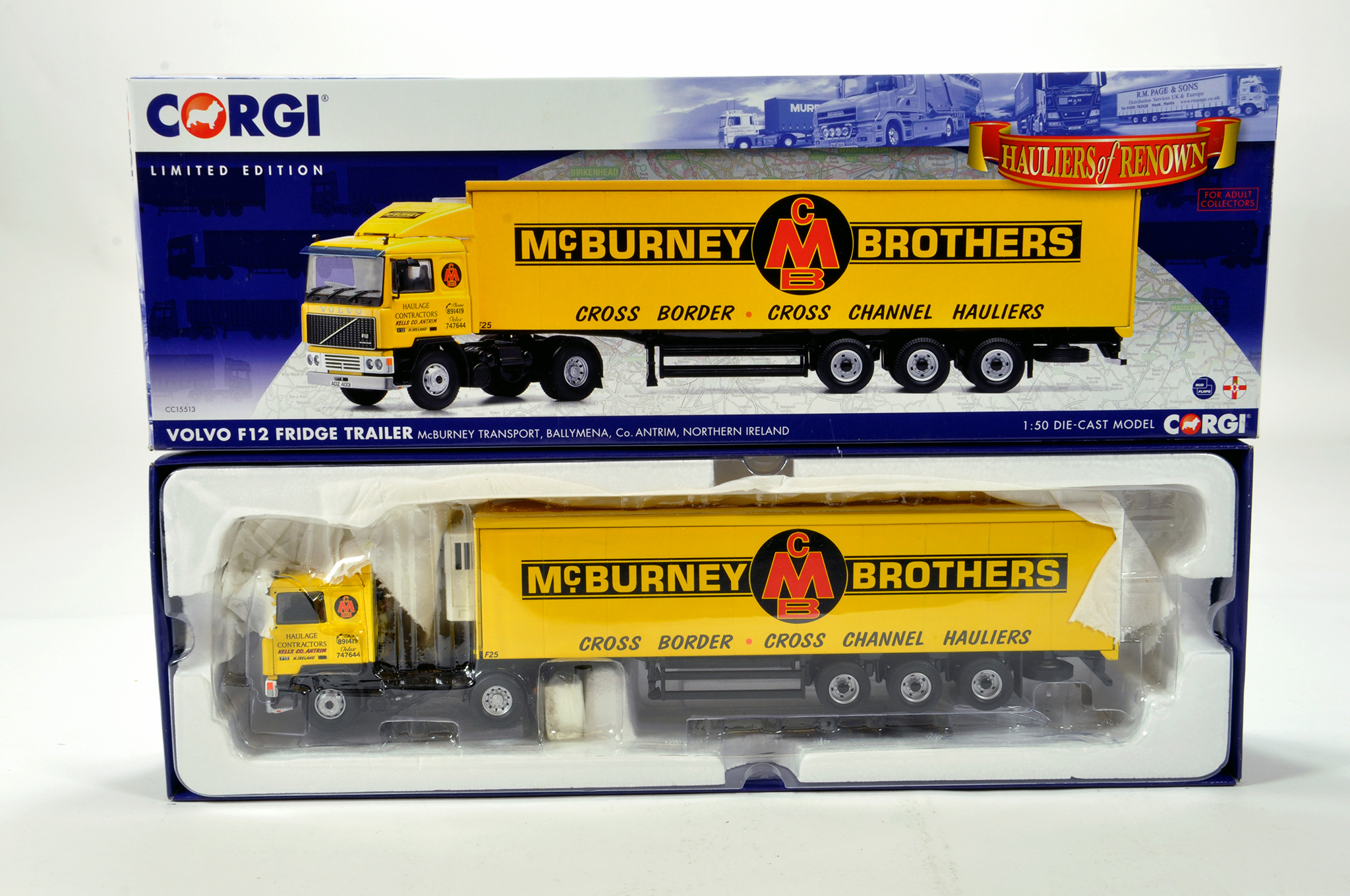 Lot 45 - Corgi 1/50 diecast truck issue comprising No. CC15513 Volvo F12 Fridge Trailer in livery of