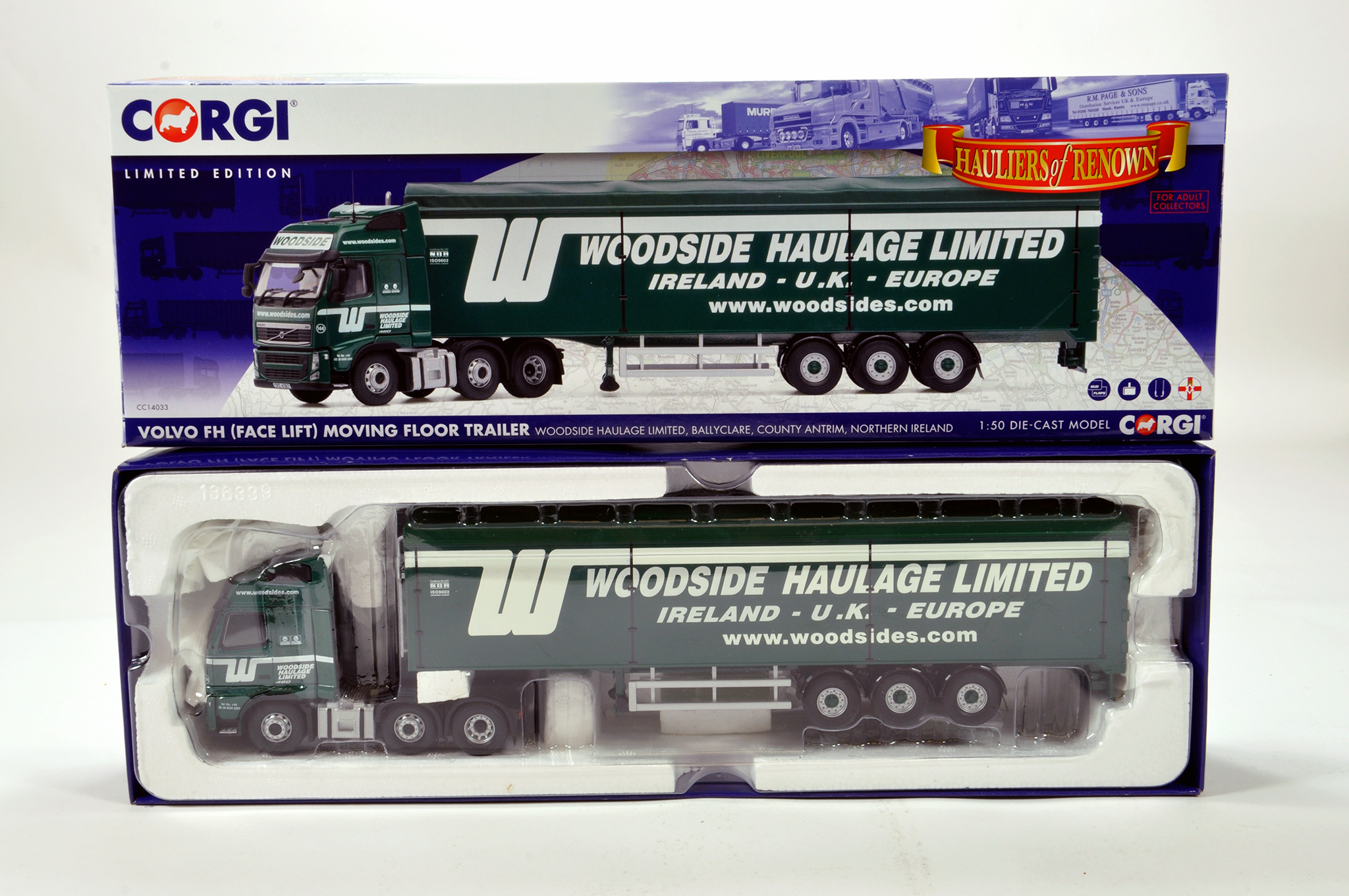 Lot 4 - Corgi 1/50 diecast truck issue comprising No. CC14033 Volvo FH Moving Floor Trailer in livery of