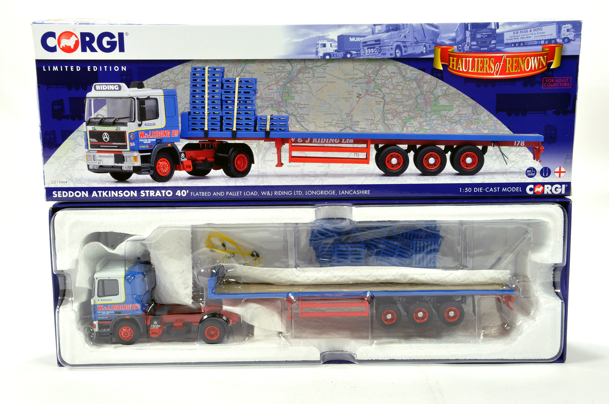 Lot 49 - Corgi 1/50 diecast truck issue comprising No. CC15404 Seddon Atkinson Statro 40 Flatbed and Pallet