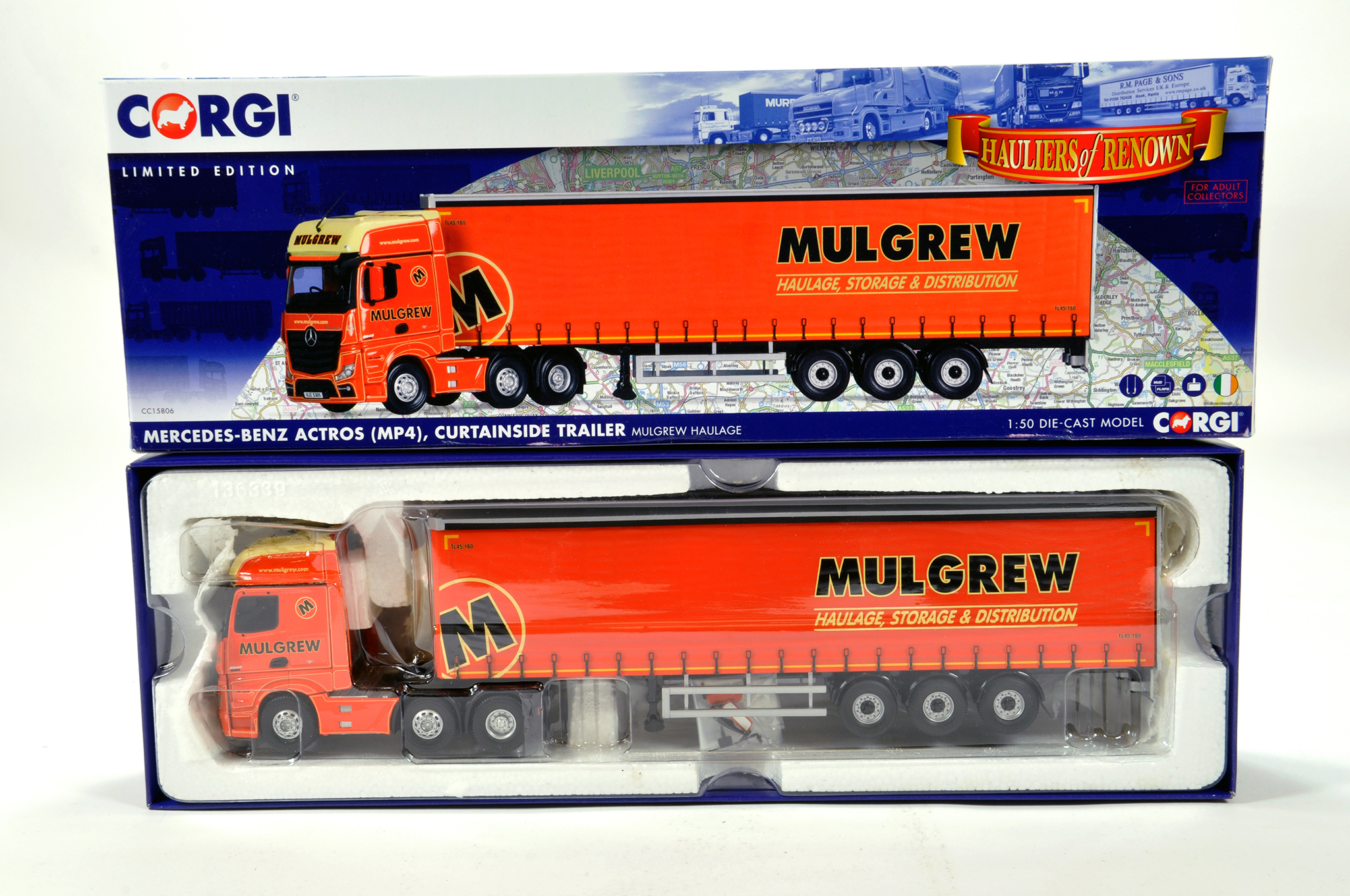 Lot 41 - Corgi 1/50 diecast truck issue comprising No. CC15806 Mercedes Actros Curtainside in livery of