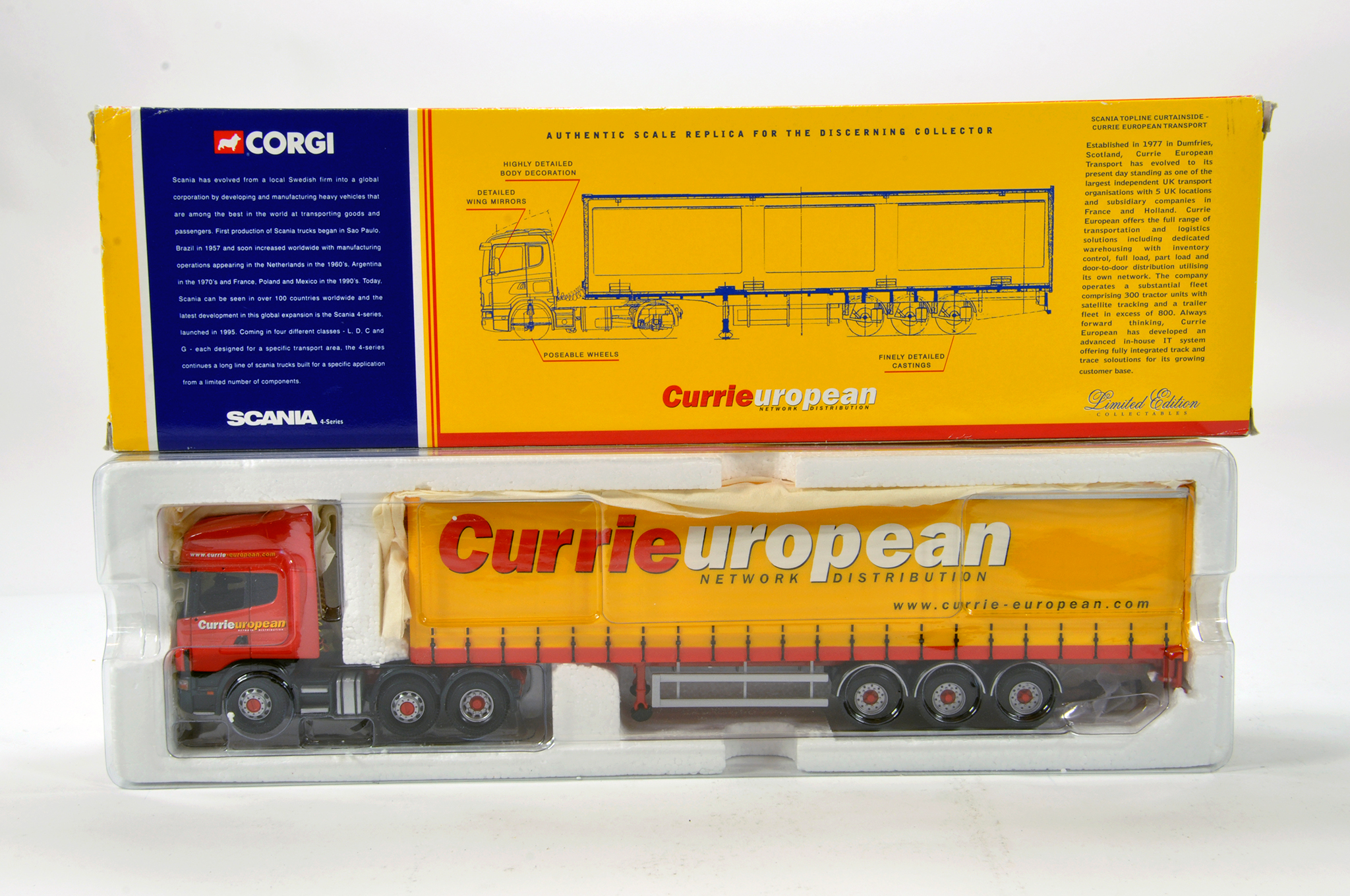 Lot 57 - Corgi 1/50 diecast truck issue comprising No. CC12903 Scania Topline Curtainside in livery of Currie